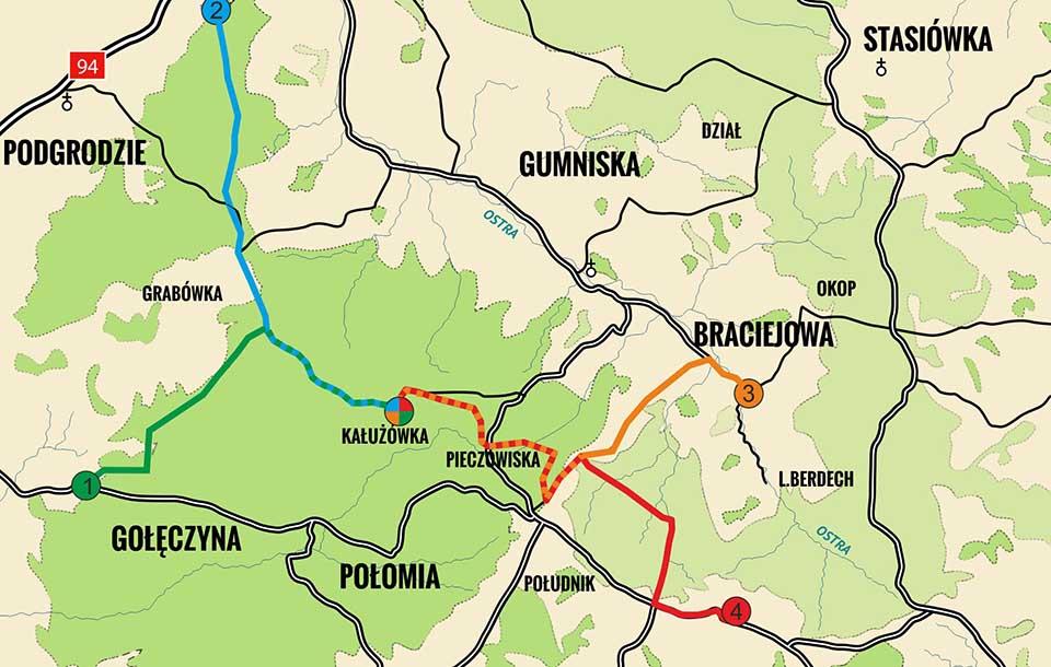 Mapa - trasy XI Rajdu Gwiaździstego